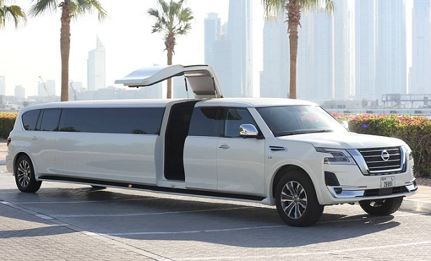 Exclusive Nissan Patrol Stretched Limo, 2020 model for up to 24 passengers for only AED 799 per hour.