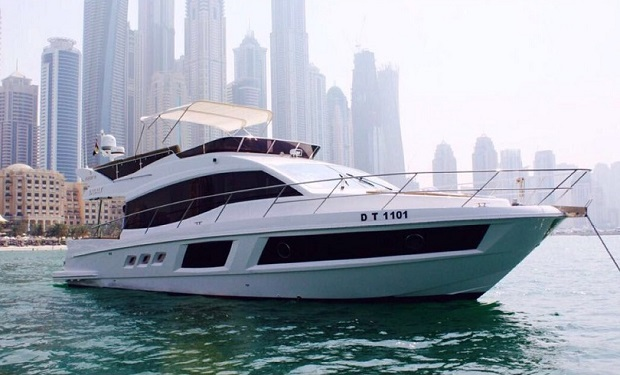 Rent a Luxury Majesty 48 ft Yacht for up to 20 people for only AED 649 per hour. Huge Flybridge!