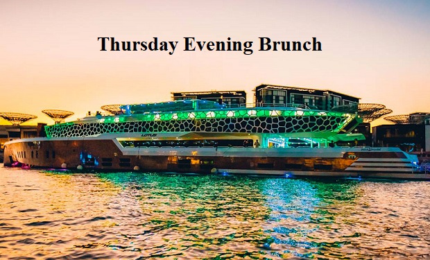Thursday Evening Brunch Cruise on Dubai's Largest Mega Yacht from only AED 149 for Ladies and AED 299 for Gents.