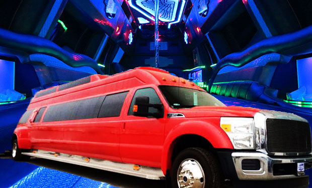 Experience a Party ride on the Unique Big Red Limo for up to 30 people for only AED 999. One of its kind Stand up Limo!