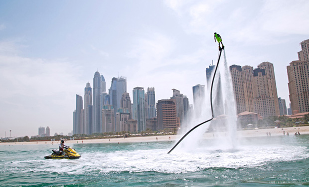 Flyboard Experience in Palm Jumeirah from only AED 199. Fun & exciting watersport activity.