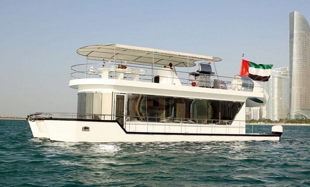 Enjoy Cruising on the Spacious House Boat for up to 12 people. 2, 3 or 4 Hour Charter from only AED 1,299.