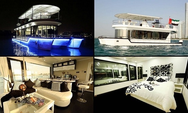 Enjoy Lunch or Dinner for up to 12 people while cruising on the House Boat from only AED 1,849.