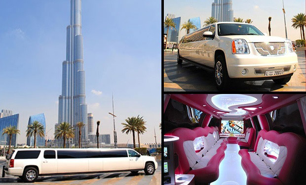 Limo Rental: Exclusive GMC Asanti Lumbo Limousine for up to 26 people for only AED 699 per hour.