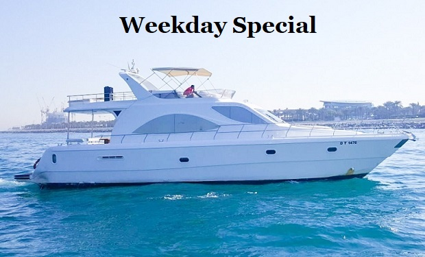 Weekday Special: Rent a 75 foot Yacht for up to 33 people for only AED 749.