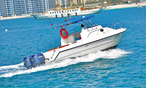 One, Two or Three Hour Cruise on a 32 foot Boat for up to 10 people from only AED 299. Departing from Dubai Marina.
