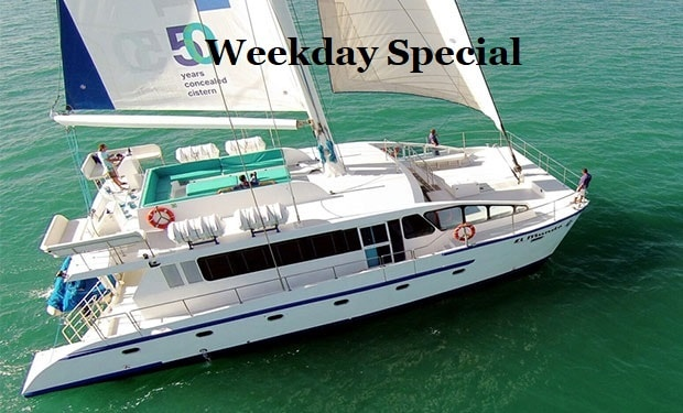 Weekday Special: Catamaran Cruise for up to 50 people. 2, 3, 4 or 5 Hours Private Charter from only AED 2,599.