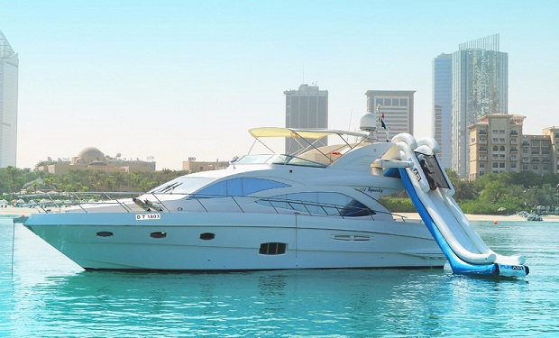 Water Slide Yacht Charter Experience: 3, 4, 5 or 6 Hour Cruise with a Water Slide from only AED 2,799. Luxury Yacht for up to 25 people.